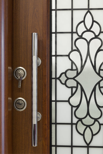 Otantika Steel Security Door With Decorative Glass - Score Materials - 4