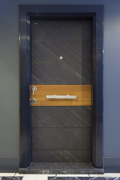 Modern Steel Security Door With Natural Stone Finish - Score Materials - 2