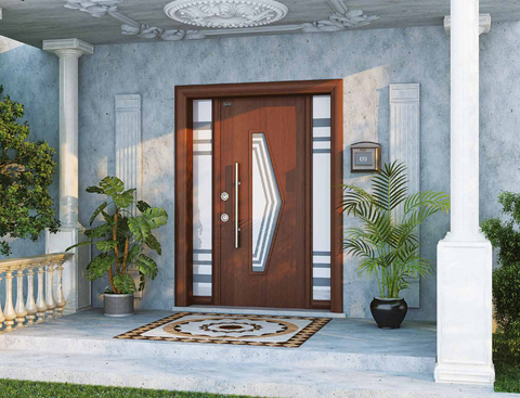 Madran Steel Security Door With Glass And Wood Look Finish - Score Materials - 1