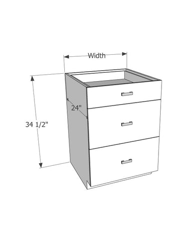 Base cabinet with 3 drawers - Score Materials
