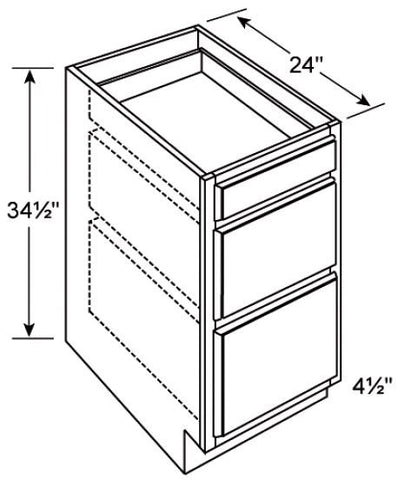 3 Drawer Base Cabinet Coco Shaker - Score Materials - 1