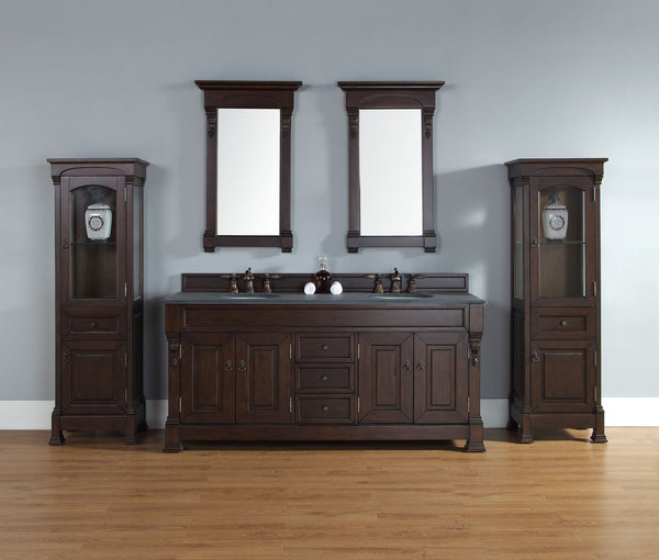 "James Martin Solid Wood 72"" Brookfield Double Bathroom Vanity, Burnished Mahogany 147-114-5761 - Score Materials - 1"