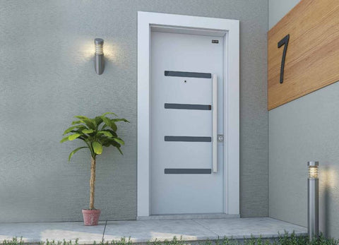 Thin Line Steel Security Door, White - Score Materials - 1