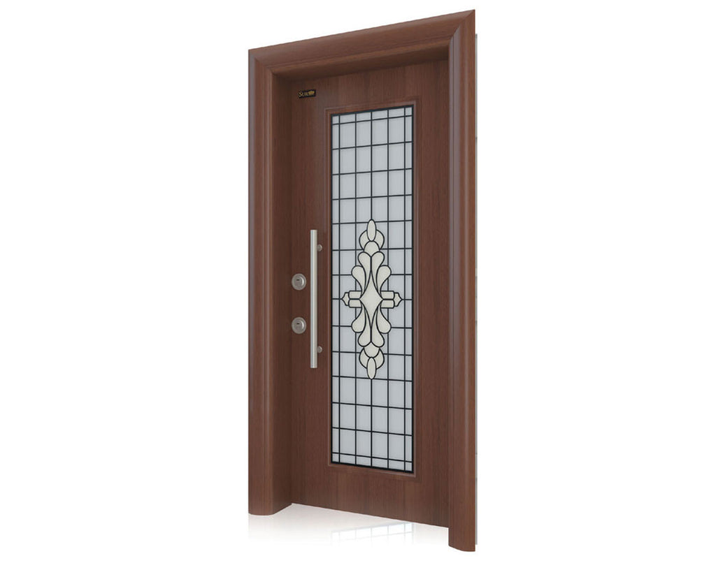 Otantika Steel Security Door With Decorative Glass - Score Materials - 1