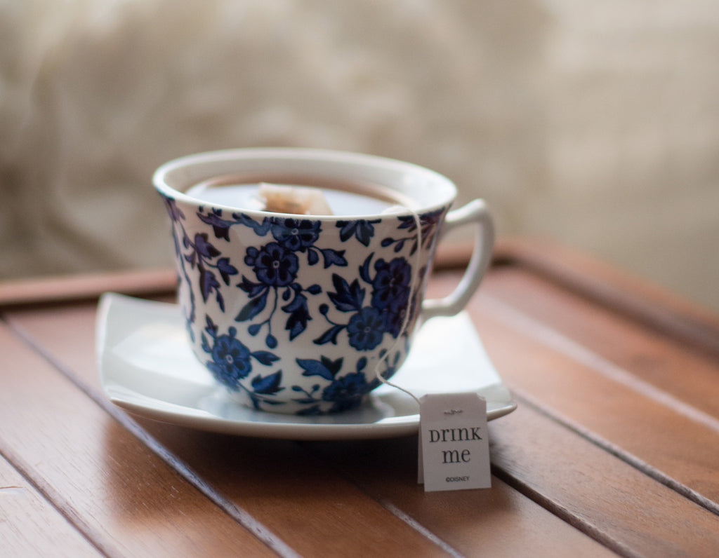 tea in blue and white china cup