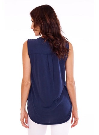Veronica M. Slevessless Cupro Top - NAVY