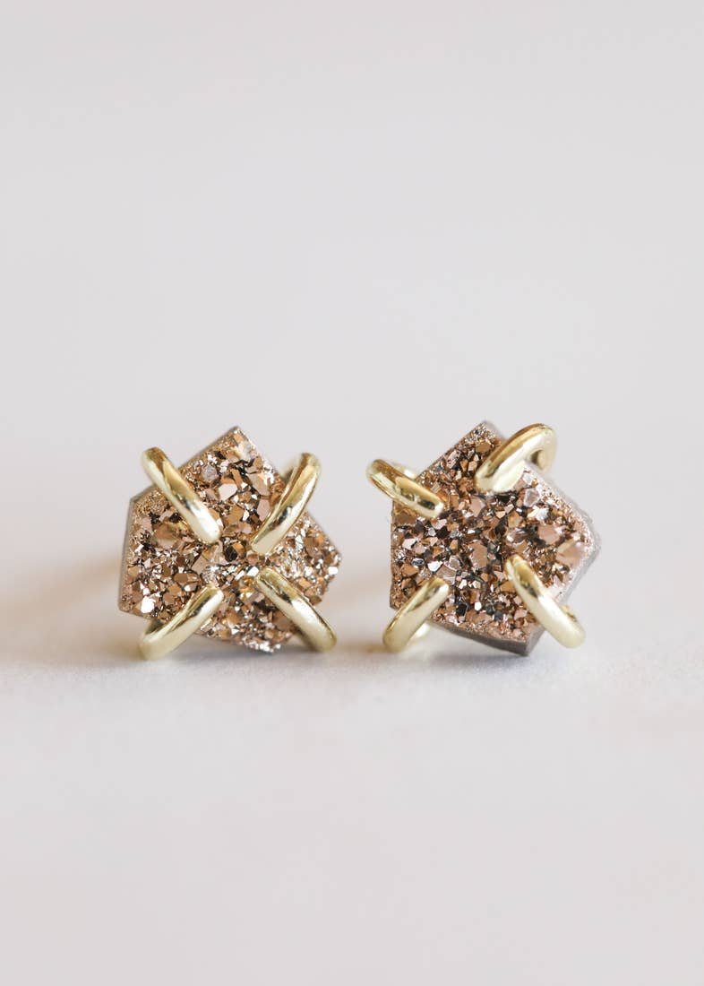 JaxKelly Rose Gold Druzy Prong Earrings