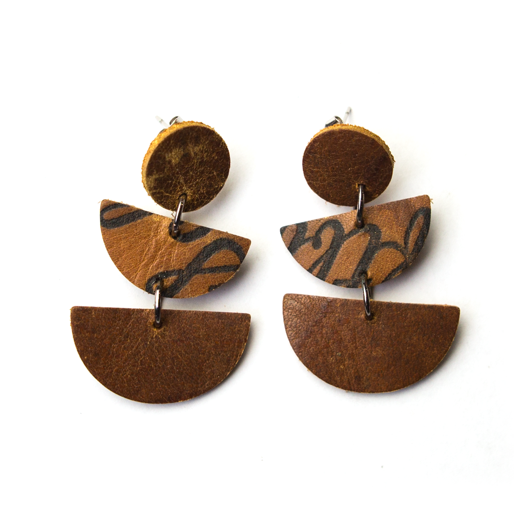 Ballglove Leather Earrings - Three-Piece Dangle - Pillbox Bat Co.