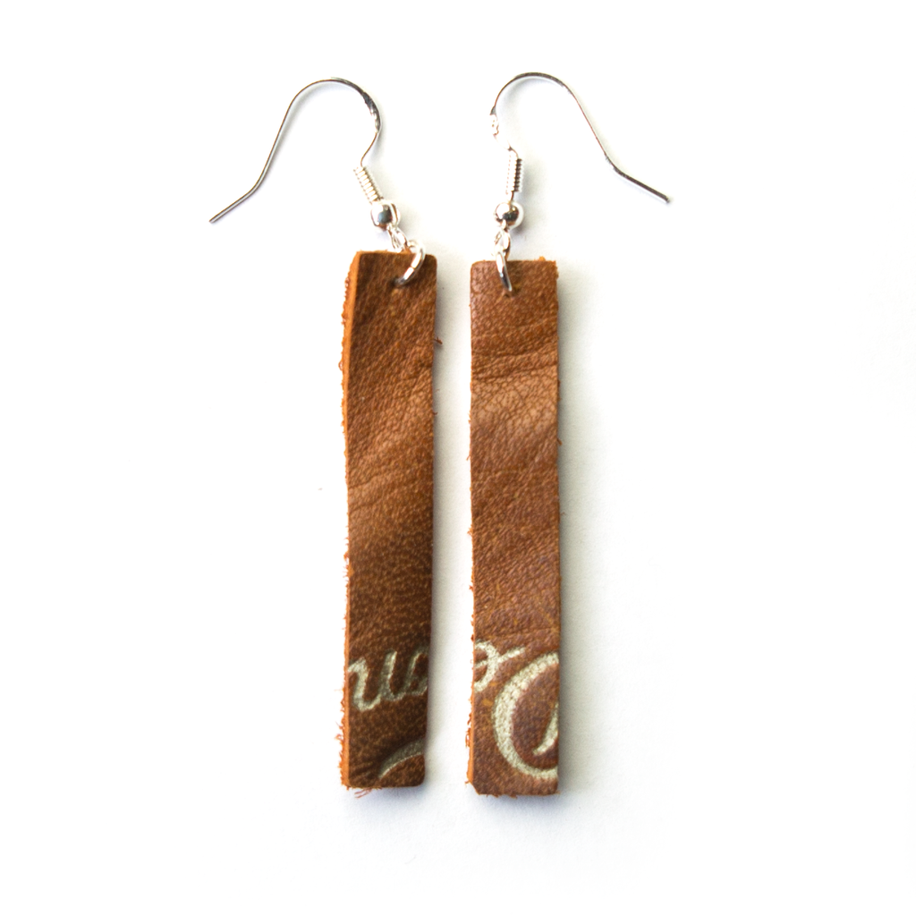 Ballglove Leather Earrings - One-Piece Dangle - Pillbox Bat Co.