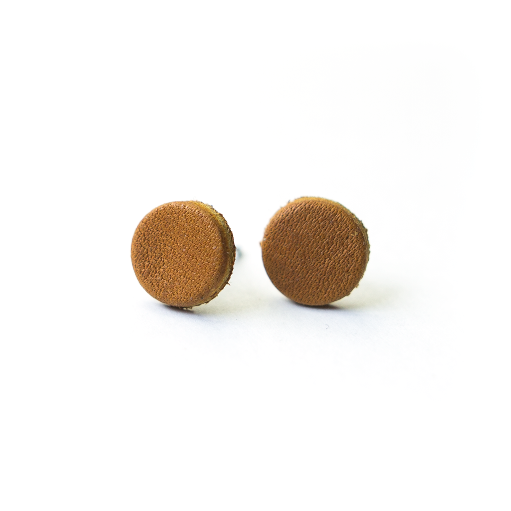 Ballglove Leather Earrings - Stud - Pillbox Bat Co.