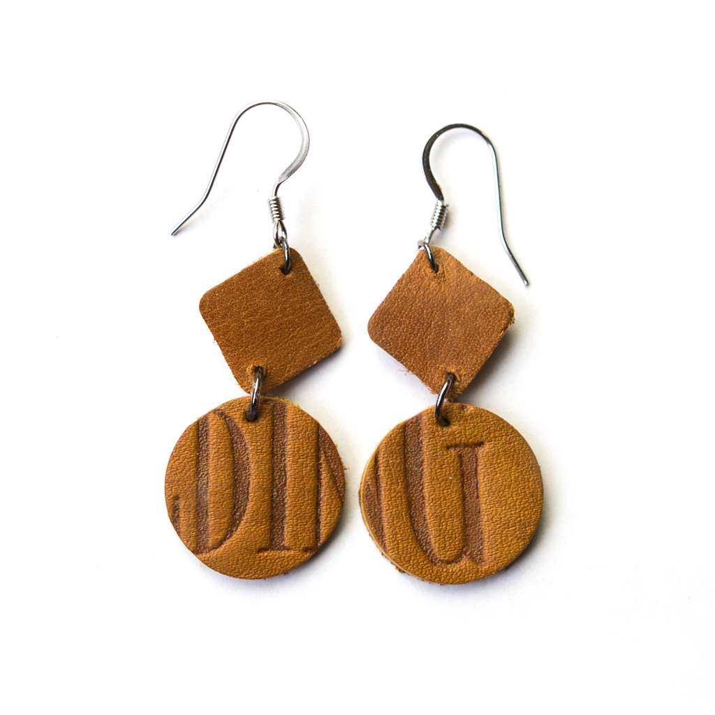 Ballglove Leather Earrings - Two-Piece Dangle - Pillbox Bat Co.