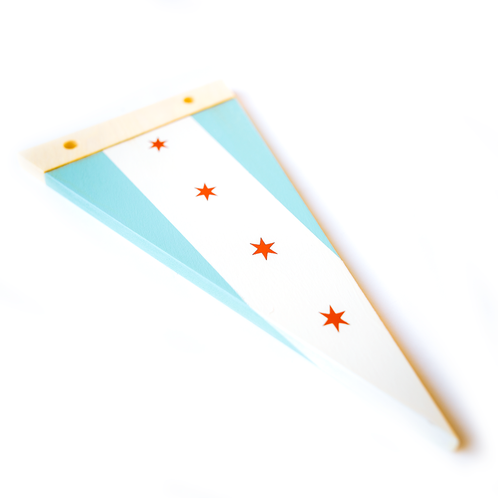 Chicago Flag - Wooden Pennant - Pillbox Bat Co.