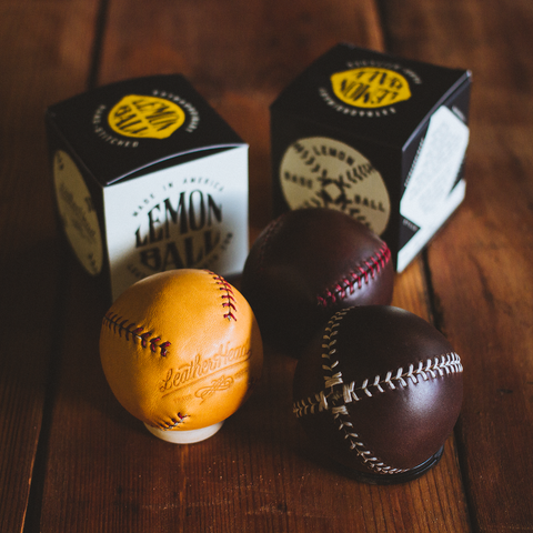 LEMON BALL™ Baseball - Brown Horween (Red Stitching) - Pillbox Bat Co.