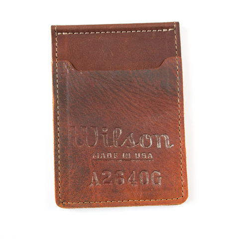 Money Clip Wallet - Vintage Ball Glove Leather - Pillbox Bat Co.