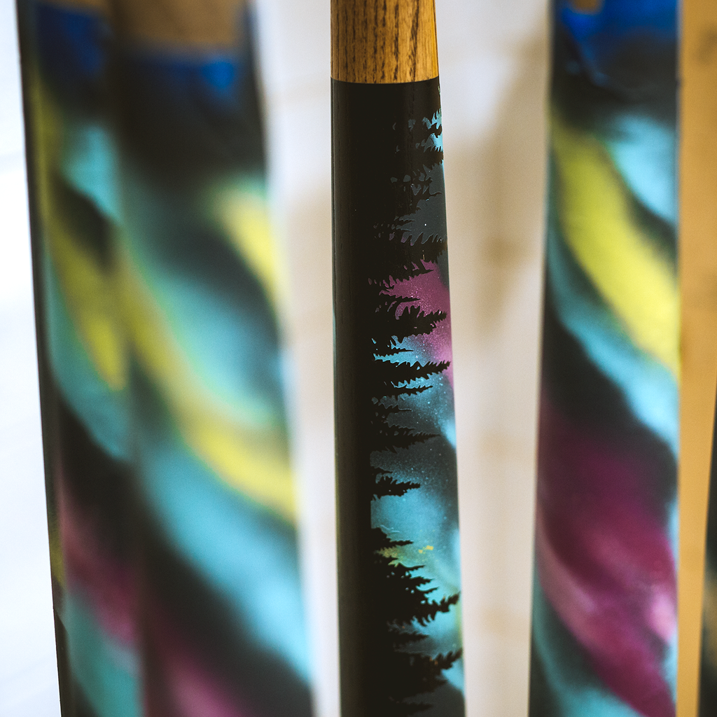 """Northwoods"" Northern Lights - Hand-painted Bat"