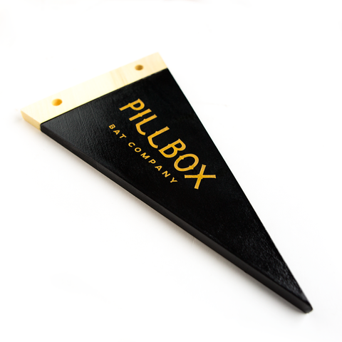 Pillbox Logo - Wooden Pennant - Pillbox Bat Co.
