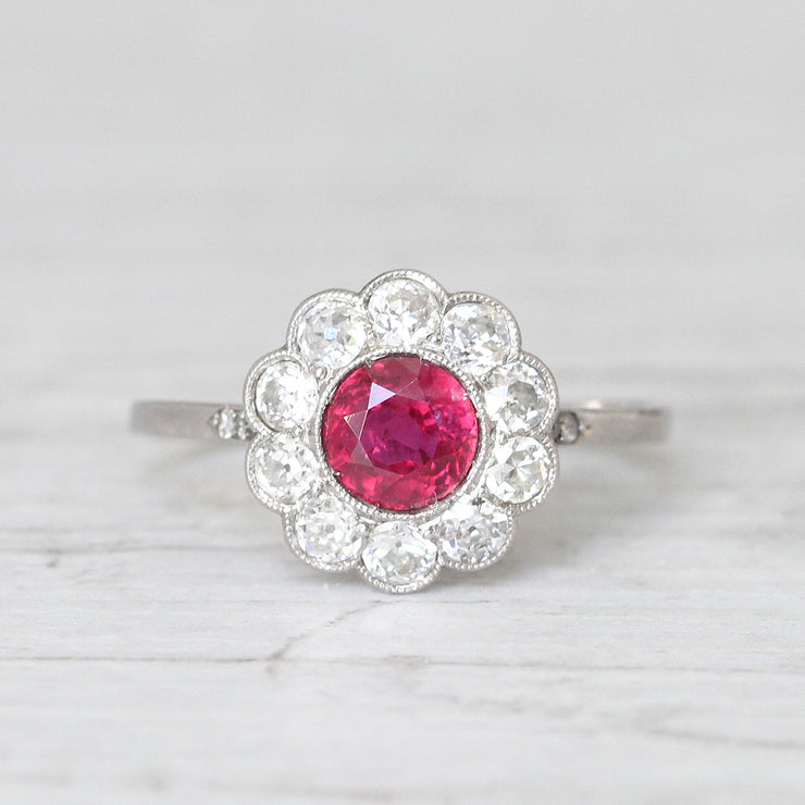 Art Deco 1 Carat Ruby and Old Cut Diamond Daisy Cluster Ring