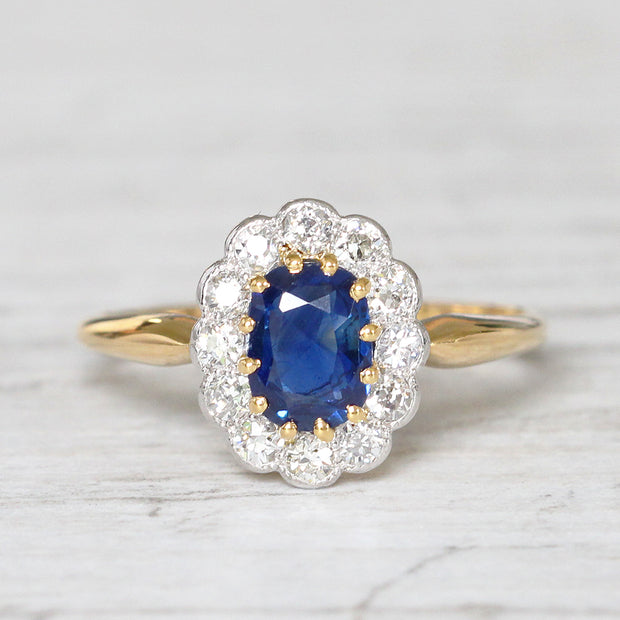 Edwardian 0.90 Carat Sapphire and Old Cut Diamond Cluster Ring