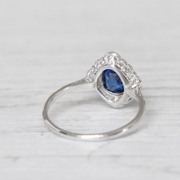 Art Deco 0.83 Carat Sapphire and Old Cut Diamond Cluster Ring