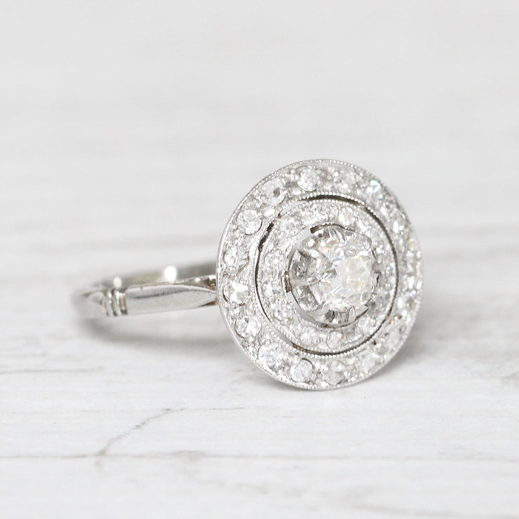 French Art Deco 0.62 Carat Old Mine Cut Diamond Double Halo Cluster Ring