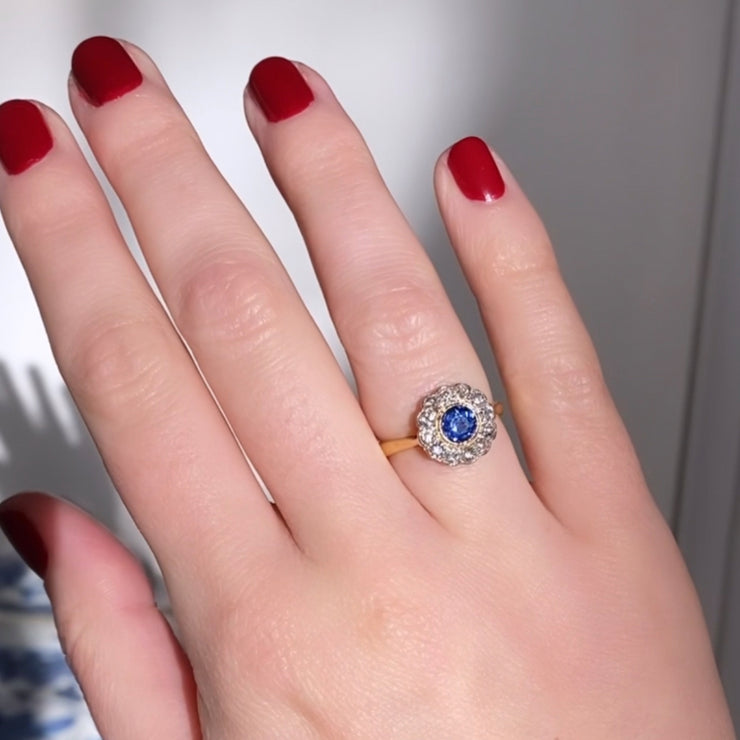 Edwardian 0.60 Carat Sapphire and Old Cut Diamond Cluster Ring