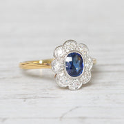 Edwardian 0.63 Carat Sapphire and Old Cut Diamond Cluster Ring
