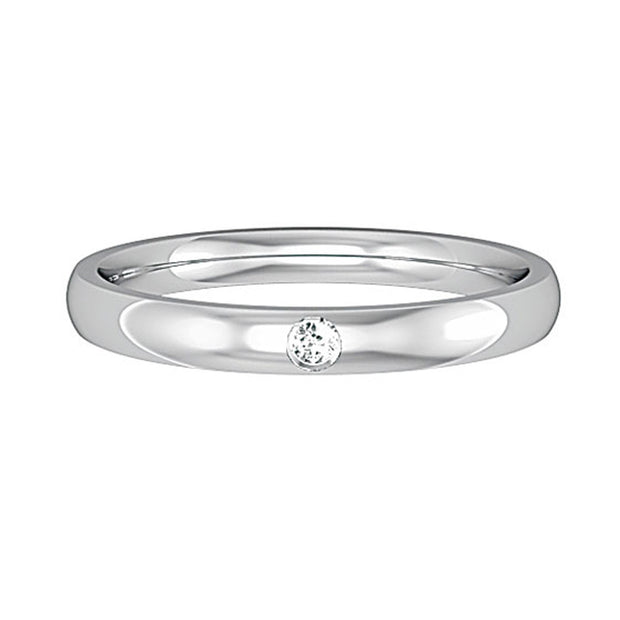 2.5mm Court Shape Band with Single Diamond
