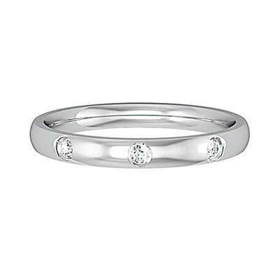2.5mm Court Shape band with 3 Diamonds