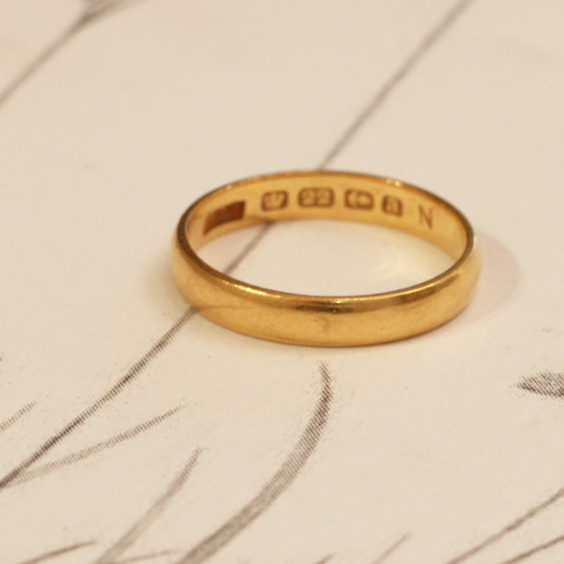 Victorian 3mm 22ct Gold Wedding Band
