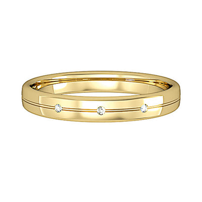 3mm Bombe Court Band with 3 Diamonds