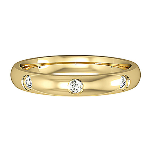 3mm Court Shape Band with 8 Diamonds