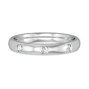 3mm Court Shape Band with 3 Diamonds