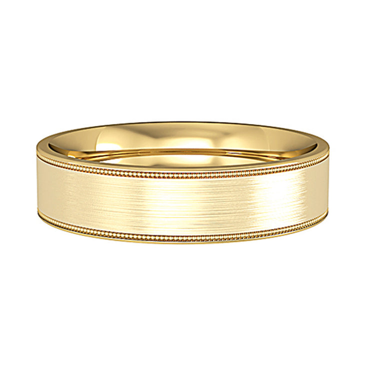 5mm Flat Court Satin Wedding Band & Mill Grain Edges