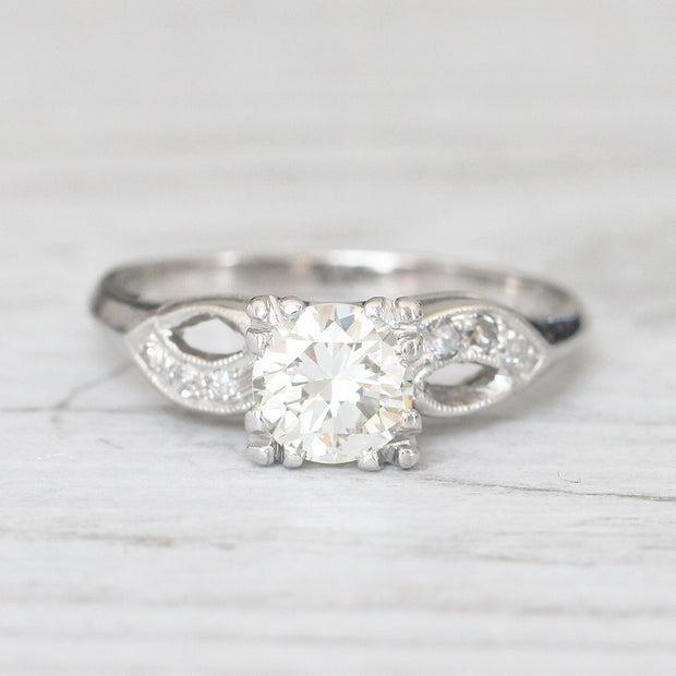 Art Deco 0.88 Carat Transitional Cut Diamond Solitaire