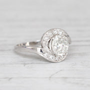 Art Deco 1.48 Carat Old Mine Cut Diamond Twist Solitaire