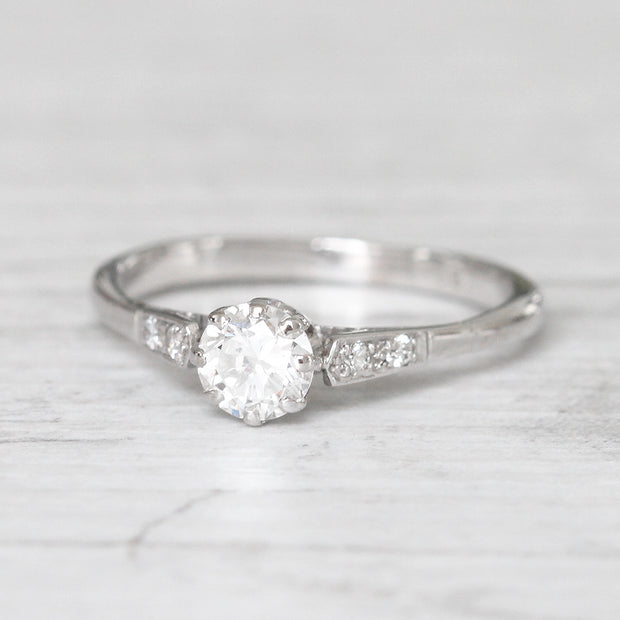 RESERVED - Art Deco 0.58 Carat Transitional Cut Diamond Solitaire
