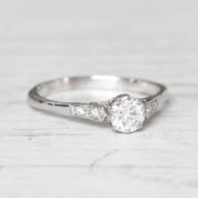 Art Deco 0.58 Carat Transitional Cut Diamond Solitaire