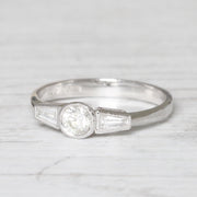 Art Deco Style 0.60 Carat Brilliant and Baguette Cut Diamond Ring