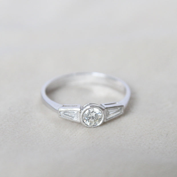 RESERVED Art Deco Style 0.60 Carat Brilliant and Baguette Cut Diamond Ring
