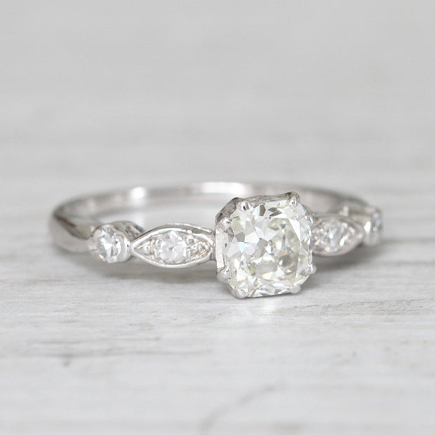 Art Deco 0.91 Carat Old Cushion Cut Diamond Solitaire