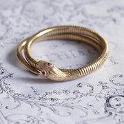 Vintage 9ct Gold Snake Bangle with Ruby Eyes