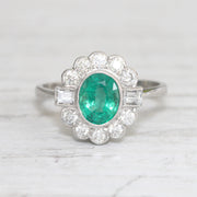 Art Deco Style 1.28 Carat Emerald and Diamond Cluster Ring