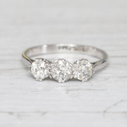 Art Deco 1.15 Carat Old European Cut Diamond Three Stone Ring