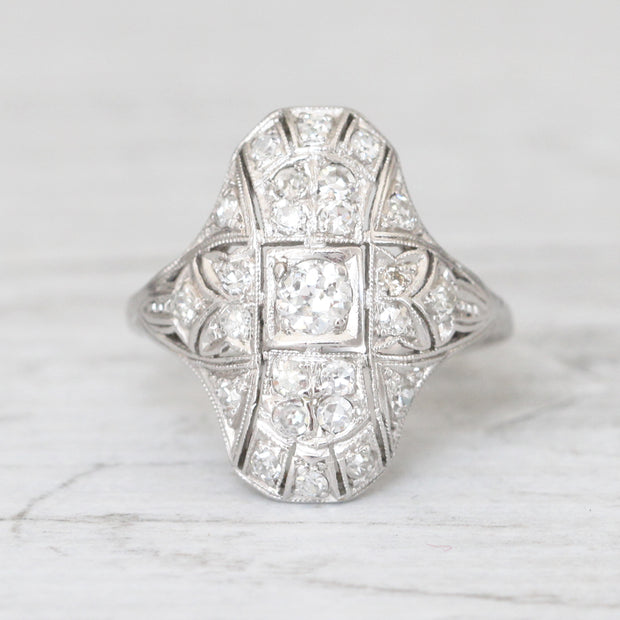 Art Deco Old European Cut Diamond Bombé Cluster