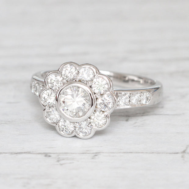Edwardian Style 1.24 Carat Brilliant Cut Diamond Daisy Cluster