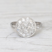 Swedish Art Deco 0.90 Carat Old Cut Diamond Round Cluster