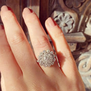 Vintage 1.26 Carat Old Cut Diamond Cluster Ring