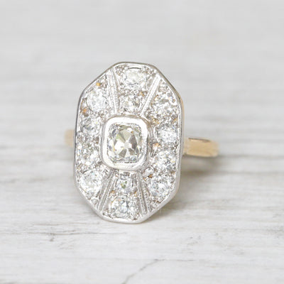 Art Deco 1.15 Carat Old Mine Cut Diamond Cluster Ring