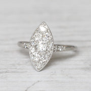 Art Deco 0.66 Carat Old Mine Cut Diamond Marquise Shape Cluster Ring