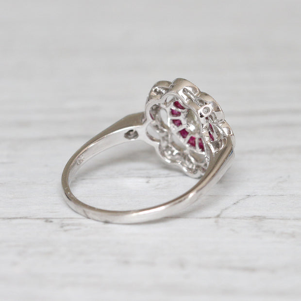 Art Deco Style Old Cut Diamond and French Cut Ruby Target Cluster